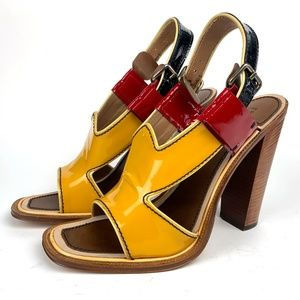 PRADA Patent Calfskin Leather, Wood Block Heel